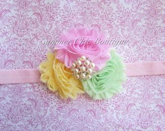 Spring Headband, Baby Headband, Infant Headband, Newborn Headband, Shabby Chic Headband, Light Pink, Mint, and Light Yellow, Easter Headband