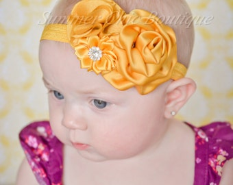 Mustard Yellow Baby Headband, Infant Headband, Newborn Headband, Baby Headband, Toddler Headband, Girls Headband, Golden Yellow Headband