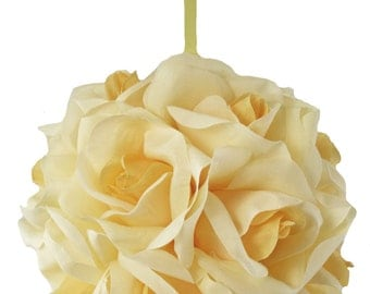 Garden Rose Kissing Ball - Yellow - 6 Inch Pomander