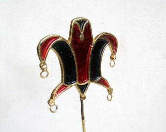 Court Jester Hat, enamel on metal, vintage desk ornament. Mardi Gras. Bold red & dark blue. Medieval Harlequin, commedia dell'arte, carnival