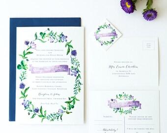 Printable Wedding Invitation - DIY - Watercolour Wreath