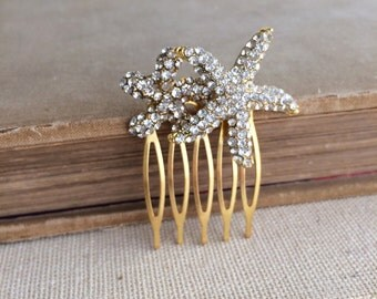 Starfish hair accessories, rhinestone GOLD Beach Wedding hair comb, beach wedding hair accessories crystal