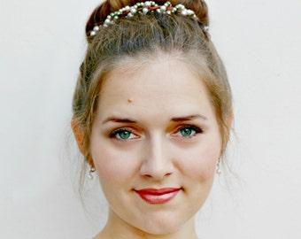 OLIVIA - Beaded Bun Belt, pearl crown for your hair bun, pearl accessories, wedding pearls, wedding hair accessories bridesmaids accessories