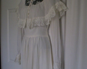 Gorgeous Gunne Sax BOHO BRIDE Ivory/cream  Wedding Dress 1970s