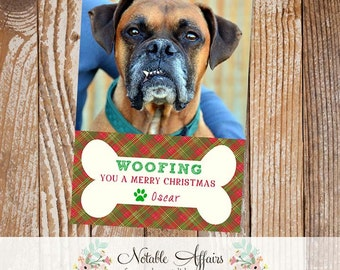Woofing you a Merry Christmas - Dog Pet Christmas Card - Christmas Card Holiday Photo Card - Happy holidays