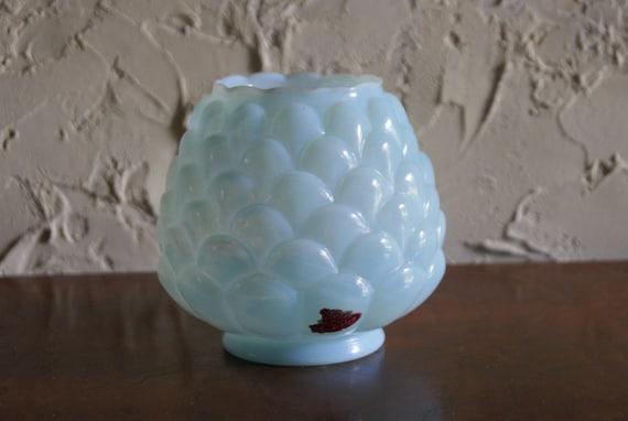Vintage 1961 Fenton Blue Opaline JACQUELINE Squat Vase With Original Paper Label