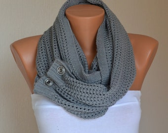 Winter scarf-Gray knit lace button infinity scarf-Winter cowl-Neck warmers-Gift for her-Christmas gifts-Accessory-Chunky scarf-Button scarf