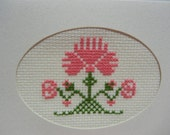 Cross Stitch Card, Cross Stitch Pink Carnation, All Occasions Card, Ready to Ship, Unique Gift