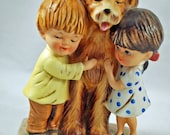 "Gorham Moppets ""Don't Try To Understand"" 1973 - Rare, HTF Moppets figurine - Little Boy, Little Girl and Dog"