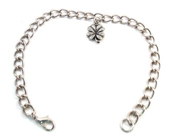Pewter 4-Leaf Clover Charm on a Silver Tone Charm Bracelet-5303
