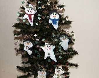 Rusty Tin Hand Painted Snowmen and Penguin Christmas Ornaments Holiday Decor,  Each Sold Separately