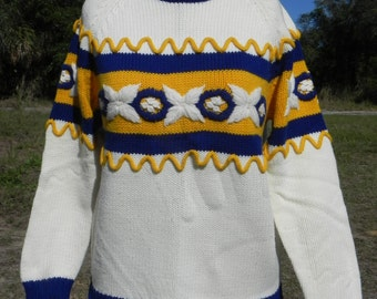 White 1970's Sweater With Yellow and Blue Detail
