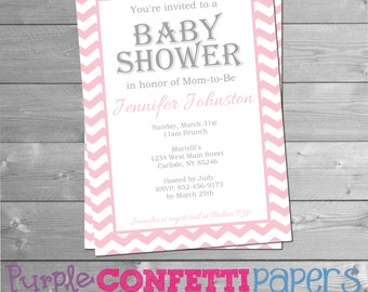 Baby Girl Pink & White Chevron Baby Shower Invitation Printable Baby Shower Chevron 5x7 Invitation