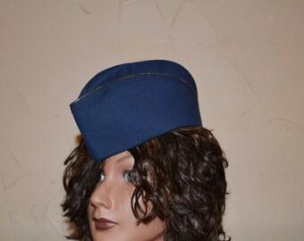 Vintage Garrison Hat Blue Military Hat Pinup Flight Cap Air Force Officers Cap Garrison Cap Halloween Costume Cosplay