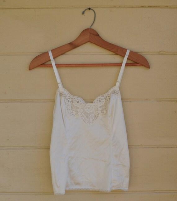 Vintage White Lace Camisole White Tank Top Cami Shirt Lingerie Under Garment Size 34