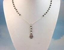 Petite Sterling Silver Hamsa Necklace Pyrite Gemstone Women Cross Pendant  Rosaries 14kt Goldfilled  kabbalah Jewish Hamsa Necklace