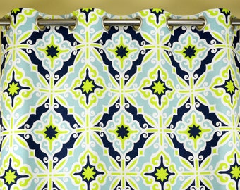 Navy Blue Green Citrine Capri Aqua White Hartford Curtains - Grommet - 84 96 108 or 120 Long by 25 or 50 Wide - Optional Blackout Lining