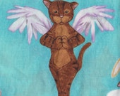 Heavenly Angel Cats on Cloud 9 ~ Cat Fabric by Michael Miller on Mint Turquoise Background FQ