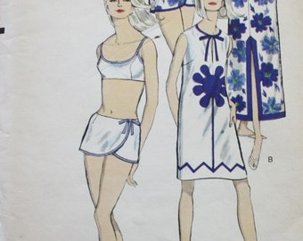 1960s Swimsuit / One Piece / Two Piece Swimsuit / Cover-Up /Vogue 6490/ Vintage Sewing Pattern