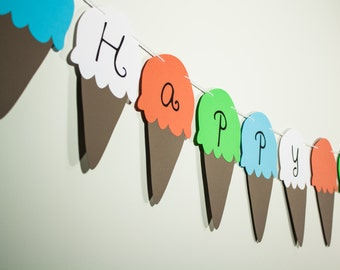Happy Birthday Banner Ice Cream Cones (Sign, Flags, Pennants). Perfect for Party Decoration
