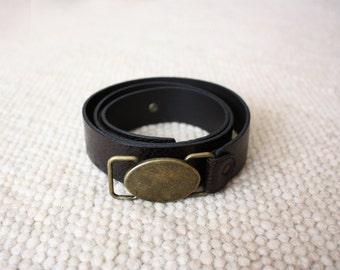vintage leather dark brown belt tooled with metal buckle 70s