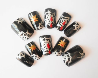 Halloween Fake Nails, False Nails, Acrylic Nails, Press on, Nails, Goth, Gothic, Cobweb, Spiderweb, Spider, Black