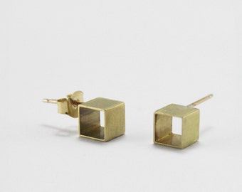 Open Cube Earrings // 14k gold and brass minimalist geometry earring studs // Simple Geometry from Mod Evil