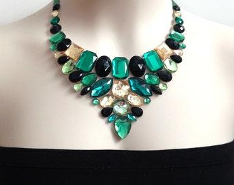 bib green rhinestone necklace, bridesmaids, wedding, party necklace