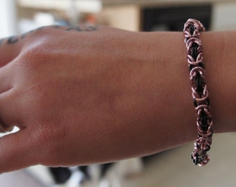 Pink and Black Anodized Aluminum Byzantine Chainmaille Bracelet