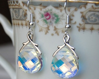 Swarovski Briolette Earrings , Clear Silver Earrings , Aurora Borealis Earrings