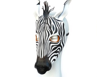 Zebra Mask Halloween Leather Masks African Animal Black White Horse Donkey Vertical Striping Carnival Children Adults Party Masquerade