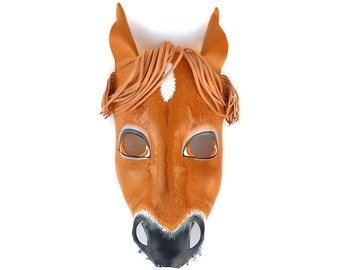 Horse Masks Halloween Leather Mask Brown Animal Equine Donkey Carnival Pony Mare Filly Colt Foal Adults Children Party Masquerade Mardi Gras