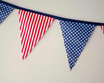 4th of July Fabric Bunting Banner - Fabric Banner - Fabric Bunting