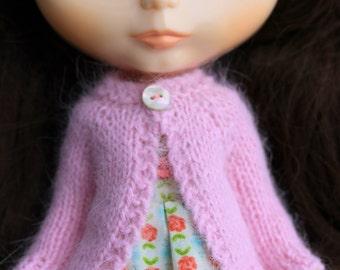 BLYTHE doll hand knit luxury angora cardigan sweater - Petal pink