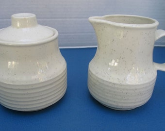 Homer Laughlin Hearthside Shape - Speckled White Creamer and Sugar with Lid Set - HLC3906