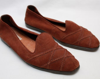 "25% Off- ON SALE- 80's Vintage ""UNISA"" Brown Leather Loafers Sz: 7"