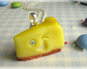 Lemon Cheesecake Necklace Polymer Clay Cheese Cake Cheesy Grin and Wink Fun Pendant Jewelry Accessory Yellow