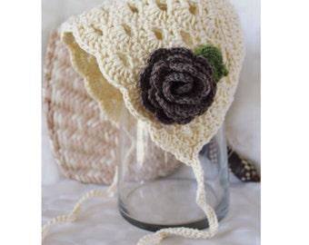 Crochet Newborn Toddler Baby Lace Bonnet