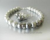 Gray Pearl Bracelet Earrings, SALE, Bridesmaid Jewelry Set, Two Tone Mercury Grey Pearls, Wedding Bridal Jewelry