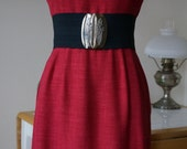 Vintage 1950s Adele Simpson Dress / 50s New Look Dress / Mid Century / Raspberry Red Linen / Notched Portrait Collar Pockets Cap Sleeves / M