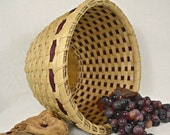 SALE Handmade Woven Double Walled Round Table Basket in Wine, Cranberry or Burgundy