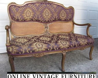 RESTORED 1800s antique French settee loveseat love seat sofa couch gold gilded glamour louis xvi purple