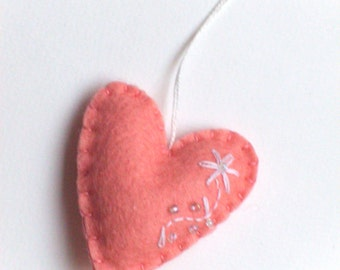 Heart ornament - felt ornaments - Valentine's day/Birthday/Christmas/Baby/It's a Girl/Housewarming home decor