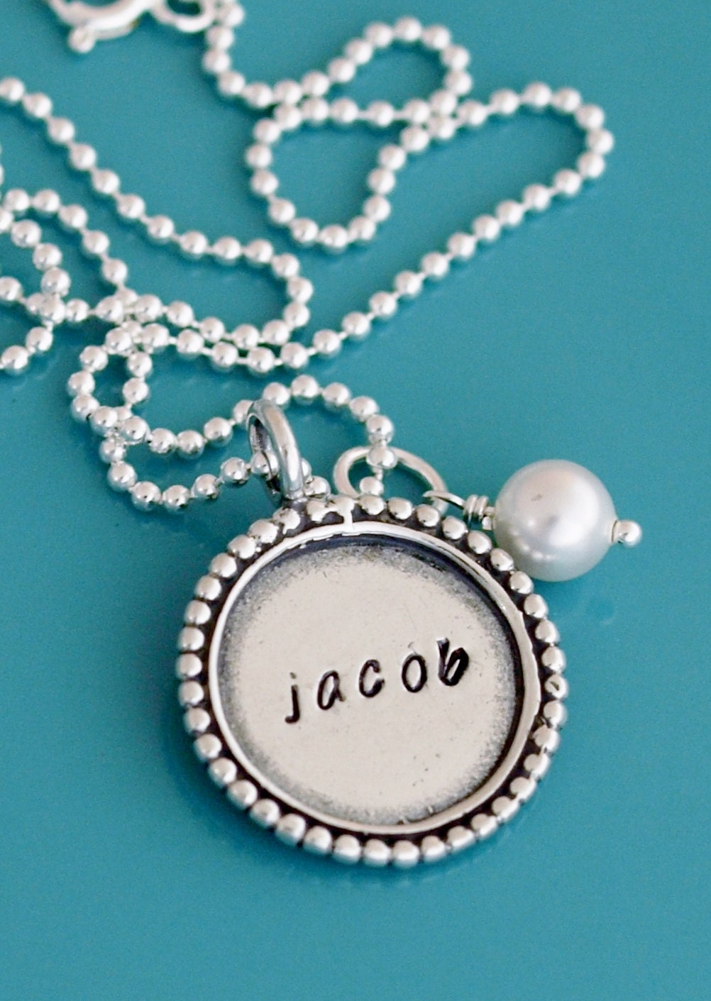 Hand stamped sterling silver necklace beaded round circle for How do you make hand stamped jewelry