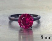 Ruby Ring, Sterling Silver Solitaire Ring, Blackened Silver, July Birthstone, Bridesmaids Gifts