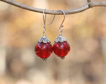 Red Cherry Beaded Earrings - FREE U.S. SHIPPING