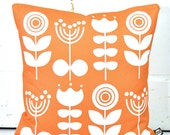 SECONDS STOCK - Scandi Flowers Cushion Cover in Orange