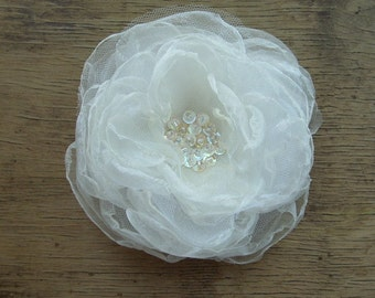 EXTRA LARGE Bridal Flower Headpiece Hair Clip Corsage Pin Brooch Wedding Hair Accessory White Ivory Organza Flower