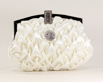 Purse, Satin Clutch - Ivory vintage inspired satin clutch with a sparkling rhinestone accent, Bridal accessories, Bridal clutch, ivory purse