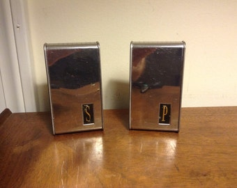 Vintage Mid-Century Modern 1960s Salt & Pepper Shakers - Chromed Wedge Shaped With Retro Labeling
